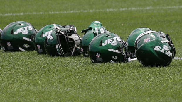 Jets helmets at training camp