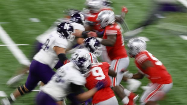 The line of scrimmage is seen during the second half between the Ohio State Buckeyes and the Northwestern Wildcats at Lucas Oil Stadium. Aaron Doster-USA TODAY Sports