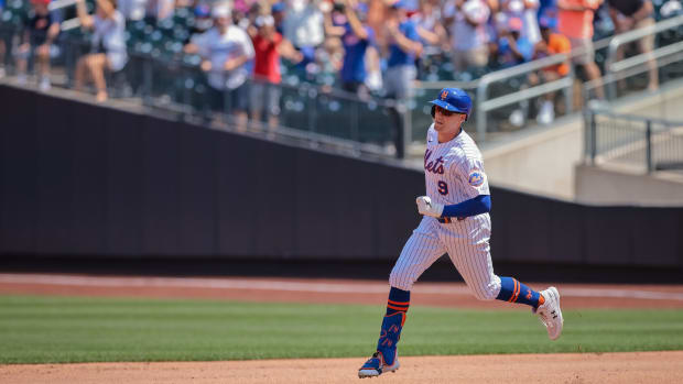 Mets outfielder Brandon Nimmo rounds the bases after taking Nationals starter Sean Nolin deep for a three-run homer in the top of the second.