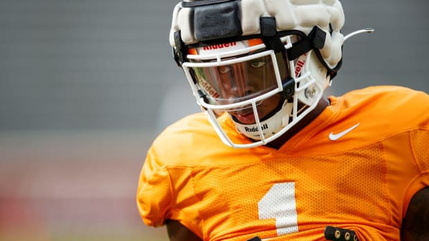 KNOXVILLE, TN - August 12, 2021 - Defensive back Trevon Flowers #1 of the Tennessee Volunteers during 2021 Fall Camp practice in Neyland Stadium in Knoxville, TN. Photo By Caleb Jones/Tennessee Athletics