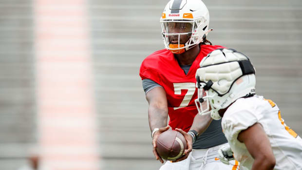 KNOXVILLE, TN - August 12, 2021 - Quarterback Joe Milton III #7 of the Tennessee Volunteers during 2021 Fall Camp practice in Neyland Stadium in Knoxville, TN. Photo By Caleb Jones/Tennessee Athletics