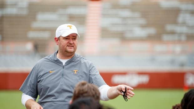 KNOXVILLE, TN - August 12, 2021 - Head Coach Josh Heupel of the Tennessee Volunteers during 2021 Fall Camp practice in Neyland Stadium in Knoxville, TN. Photo By Caleb Jones/Tennessee Athletics