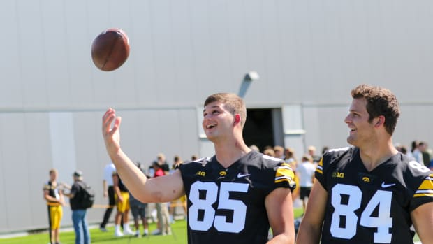 Luke Lachey (left) and Sam LaPorta pose for picture during Iowa's media day on Aug. 13, 2021 in Iowa City.