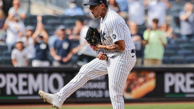 Yankees RP Jonathan Loaisiga shows emotion