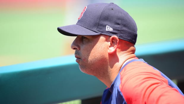 Red Sox manager Alex Cora looking on