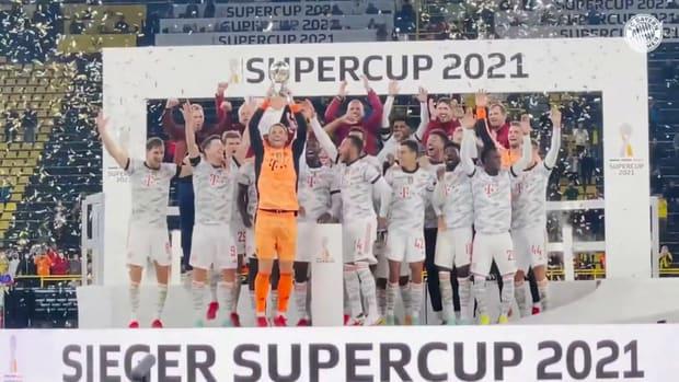 Bayern stars celebrate winning the Supercup