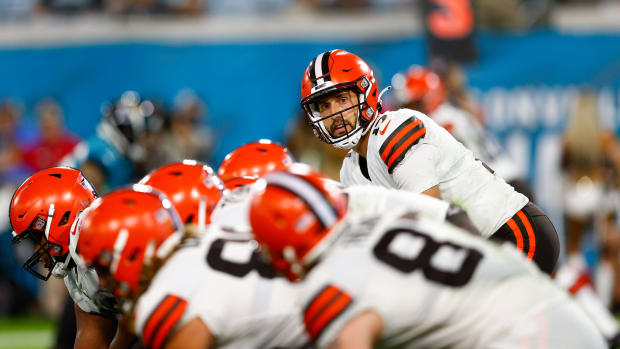 Aug 14, 2021; Jacksonville, Florida, USA; Cleveland Browns quarterback Kyle Lauletta (17) calls a play against the Jacksonville Jaguars in the fourth quarter at TIAA Bank Field. Mandatory Credit: Nathan Ray Seebeck-USA TODAY Sports