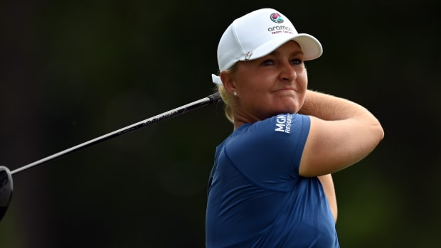 Anna Nordqvist plays her shot from the 18th tee during the first round of the KPMG Women's PGA Championship golf tournament at the Atlanta Athletic Club.