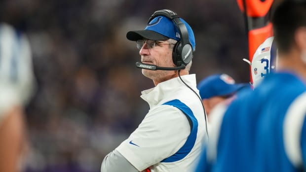 Aug 21, 2021; Minneapolis, Minnesota, USA; Indianapolis Colts head coach Frank Reich looks on during the third quarter against the Minnesota Vikings at U.S. Bank Stadium.