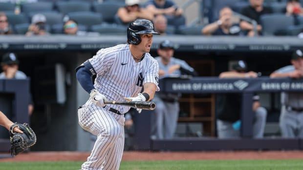 Tyler Wade hitting at Yankee Stadium