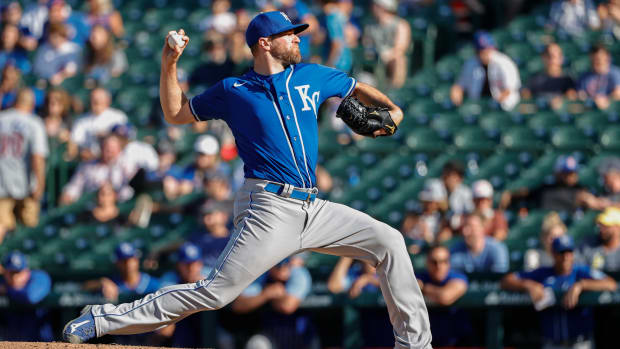 Aug 22, 2021; Chicago, Illinois, USA; Kansas City Royals relief pitcher Wade Davis (71) delivers against the Chicago Cubs during the ninth inning at Wrigley Field. Mandatory Credit: Kamil Krzaczynski-USA TODAY Sports
