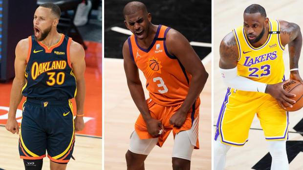 Stephen Curry, Chris Paul, LeBron James