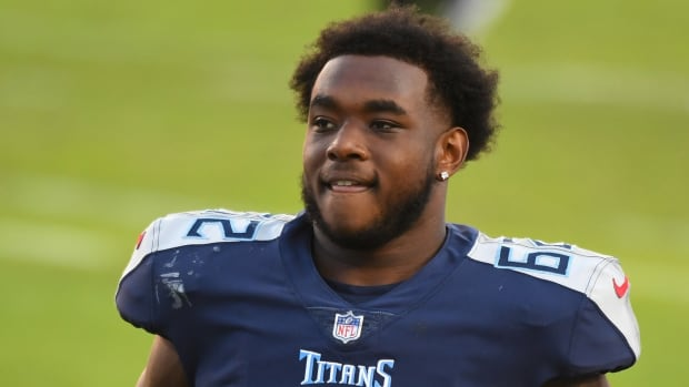 Tennessee Titans offensive guard Aaron Brewer (62) after a win against the Detroit Lions at Nissan Stadium.