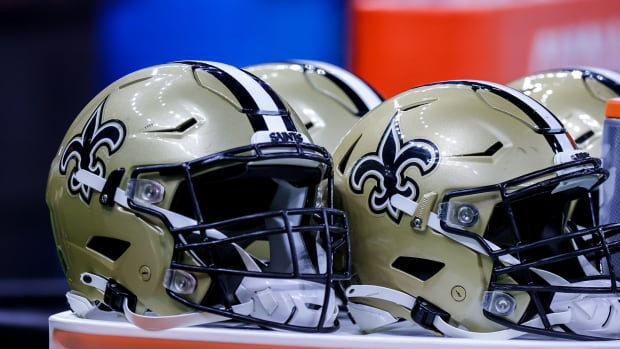 Aug 23, 2021; New Orleans, Louisiana, USA; New Orleans Saints helmets during the game between the New Orleans Saints and the Jacksonville Jaguars during the first half at Caesars Superdome.