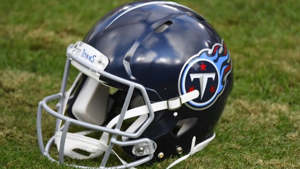 View of Tennessee Titans helmet during the second half against the Detroit Lions at Nissan Stadium.