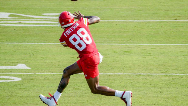 Jul 28, 2021; St. Joseph, MO, United States; Kansas City Chiefs wide receiver Jody Fortson (88) catches a pass during training camp at Missouri Western State University. Mandatory Credit: Denny Medley-USA TODAY Sports