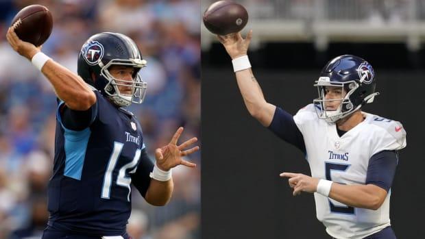 Tennessee Titans quarterbacks Matt Barkley (left) and Logan Woodside (right).