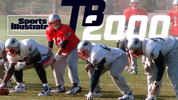 Tom Brady takes a snap in practice during his rookie year in 2000