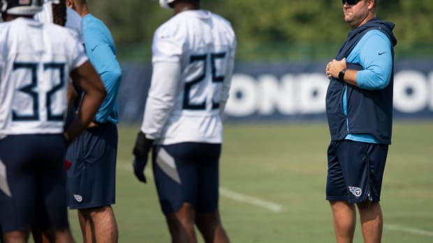 Tennessee Titans general manager Jon Robinson watches his players during a training camp practice at Saint Thomas Sports Park Monday, Aug. 2, 2021 in Nashville, Tenn.