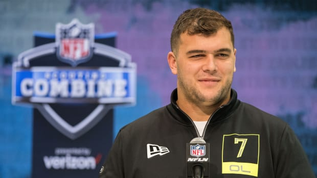 Feb 26, 2020; Indianapolis, Indiana, USA; Michigan offensive lineman Ben Bredeson (OL07) speaks to the media during the 2020 NFL Combine in the Indianapolis Convention Center.