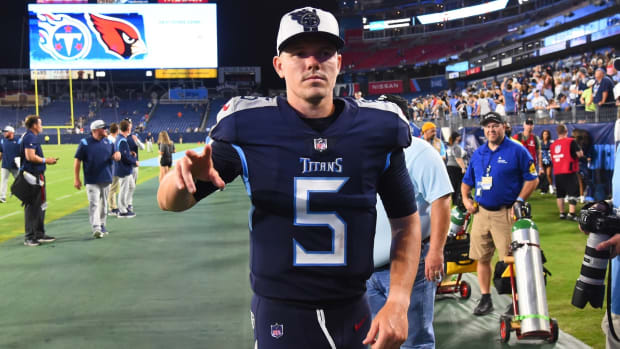 Tennessee Titans quarterback Logan Woodside (5) leaves the field after a loss tp the Chicago Bears at Nissan Stadium.