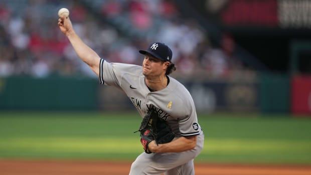 Yankees SP Gerrit Cole pitching against Los Angeles Angels