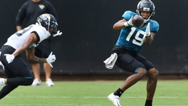 Jaguars WR, #19, Collin Johnson pulls in a pass during Saturday's practice session. The Jacksonville Jaguars held a practice session and scrimmage at TIAA Bank Field in Jacksonville, Florida Saturday, August 29, 2020.