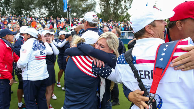 The American team celebrates its 2015 Ryder Cup victory.