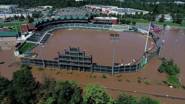Somerset Patriots TD Bank Ballpark flooded