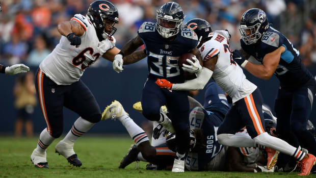 Tennessee Titans running back Mekhi Sargent (38) runs the ball against the Bears during the second quarter of an NFL preseason game at Nissan Stadium Saturday, Aug. 28, 2021 in Nashville, Tenn.