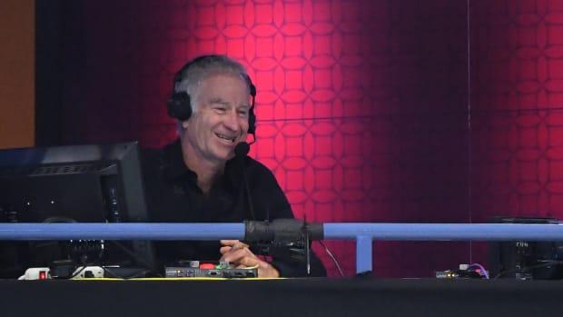 Four-time U.S Open singles champion and ESPN commentator John McEnroe calls the match between Dominic Thiem of Austria and Alex de Minaur of Australia.