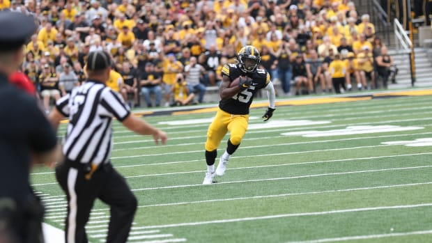 Iowa running back Tyler Goodson breaks free down the sideline during a game against Indiana on Sept. 4, 2021 at Kinnick Stadium.