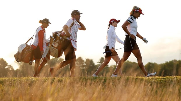 Lexi Thompson and Brittany Altomare at the 2021 Solheim Cup.