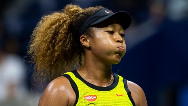 NEW YORK, NEW YORK - AUGUST 30: Naomi Osaka of Japan looks frustrated during her match against Marie Bouzkova of the Czech Republic in the first round of the women's singles at the US Open at the USTA Billie Jean King National Tennis Center on August 30, 2021 in New York City