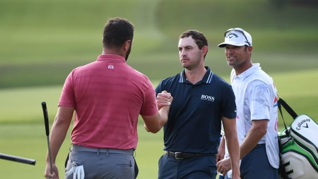 Patrick Cantlay and Jon Rahm at the 2021 Tour Championship.