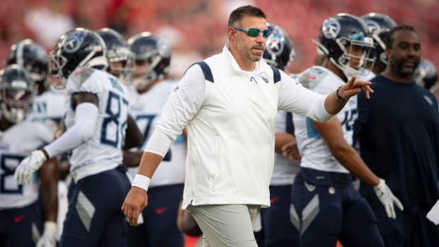 Tennessee Titans head coach Mike Vrabel walks the sideline during an NFL preseason game against the Tampa Bay Buccaneers at Raymond James Stadium Saturday, Aug. 21, 2021 in Tampa, Fla.