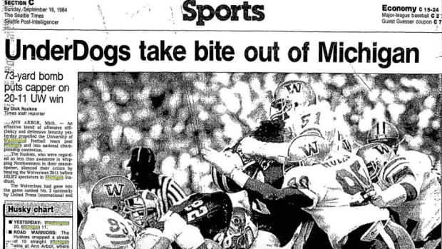 The Huskies had their way with Michigan in 1984.