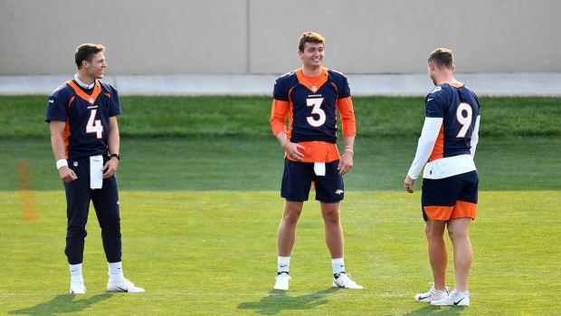 Denver Broncos quarterbacks Brett Rypien (4), Drew Lock (3) and Jeff Driskel (9).