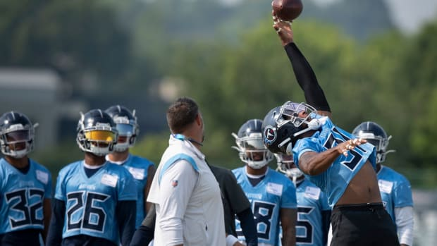 Tennessee Titans free safety Kevin Byard (31) deflects a pass during a training camp practice at Saint Thomas Sports Park Monday, Aug. 2, 2021 in Nashville, Tenn.