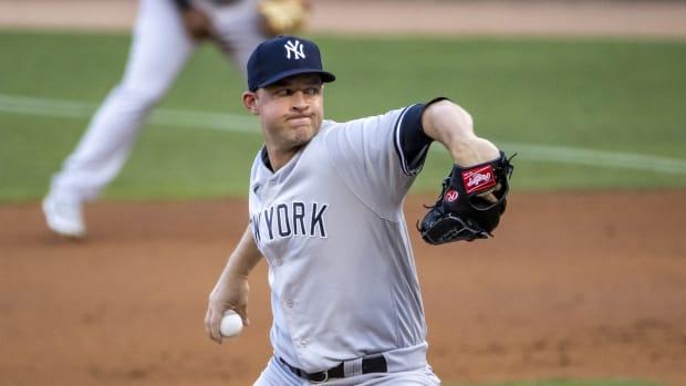 Yankees RP Michael King pitching