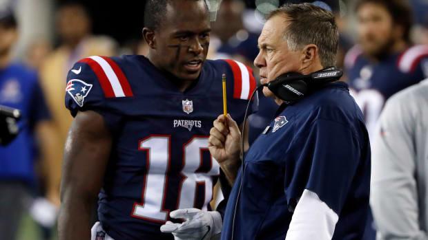 Patriots Matthew Slater and head coach Bill Belichick