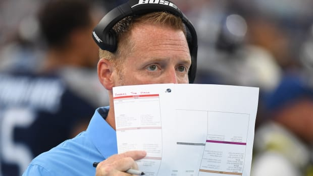 Tennessee Titans offensive coordinator Todd Downing on the sidelines during the first half against the Chicago Bears at Nissan Stadium.