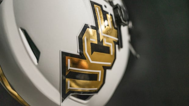 UCF White Helmet with Gold and Black Lettering