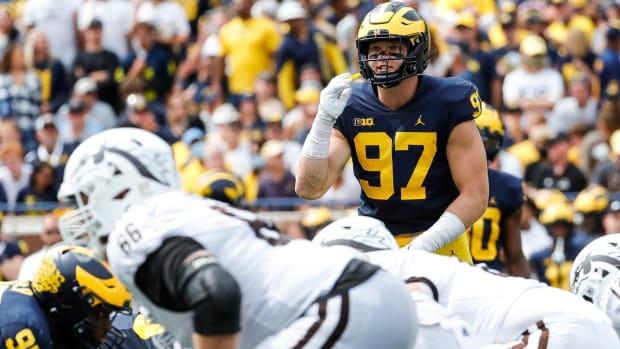 Another Hutchinson, Aidan, wears a Michigan uniform.