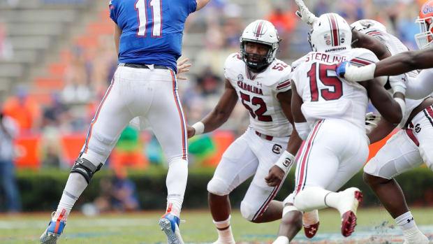 University of Florida Gators quarterback Kyle Trask (11) throws a pass during a game against South Carolina at Ben Hill Griffin Stadium in Gainesville on Oct. 3, 2020.  Flgai 100320 Ufvs Scarolina Fb Game40