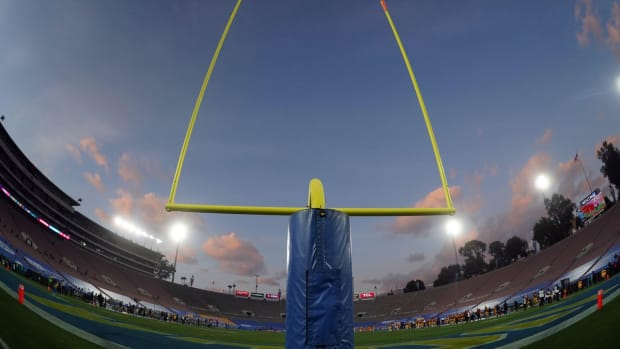 Dec 12, 2020; Pasadena, California, USA; A general view of the Rose Bowl goal posts during an NCAA football game between the Southern California Trojans and the UCLA Bruins. Mandatory Credit: Kirby Lee-USA TODAY Sports