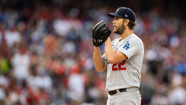 Jul 3, 2021; Washington, District of Columbia, USA; Los Angeles Dodgers starting pitcher Clayton Kershaw (22) in action against the Washington Nationals at Nationals Park.