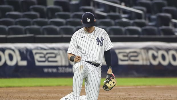 Yankees 3B Gio Urshela reacts on defense