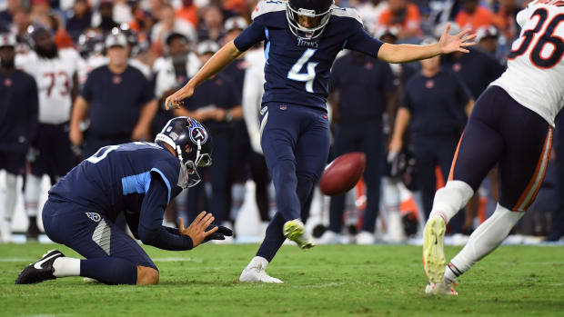 Tennessee Titans kicker Sam Fickens (4) kicks a field goal during the first half against the Chicago Bears at Nissan Stadium.