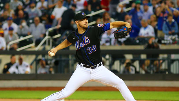 Sep 10, 2021; New York City, New York, USA; New York Mets starting pitcher Tylor Megill (38) pitches against the New York Yankees during the first inning at Citi Field.